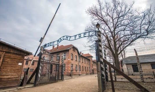 The former concentration camp in Auschwitz